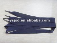 Flat cotton shoelace with metal tips