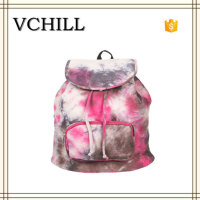 Pretty dyed drawstring leisure bag small ladies backpack