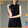 ShangYi black bow tie ladies western wear modern embroidery sleeveless casual dress for women