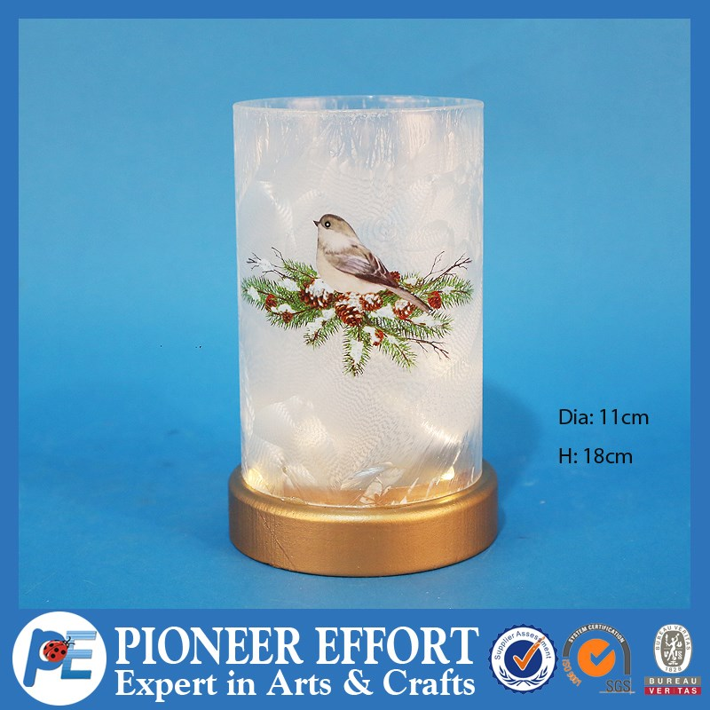 2017 Popular delicate Christmas glass lantern LED decoration with bird and pine cone