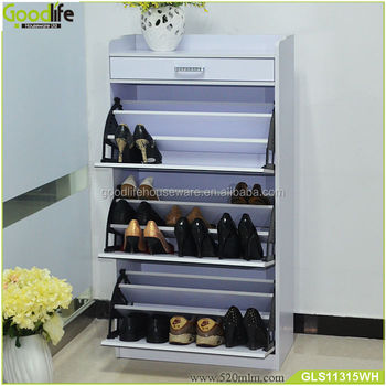 mirror covered wooden shoe cabinet design with storage stage