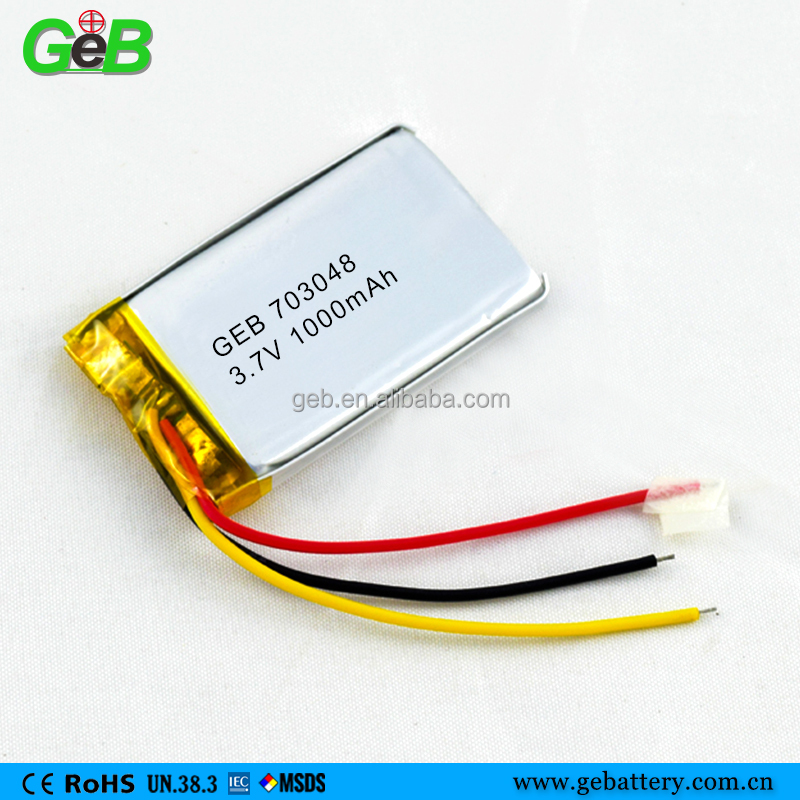 GEB customize 703048 li-polymer battery 1000mah for laptop computer