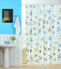 Fancy Peva Printed Bathroom Shower Curtain With Colorful Sealife Design