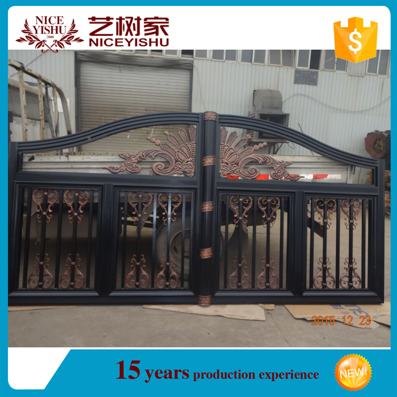 alibaba latest used modern ornamental aluminum pipe gate design/ china wholesale entrance wrought iron main gate