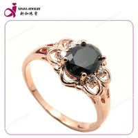 High quality oval shape zircon stone gold plating ring black gemstone ring