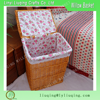 Factory wholesale rectangular honey willow/wicker laundry basket with lid