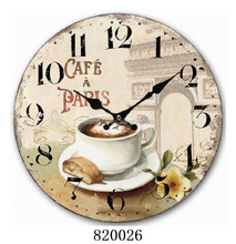 Sublimation coffee bar happy time promotional souvenir wall clock
