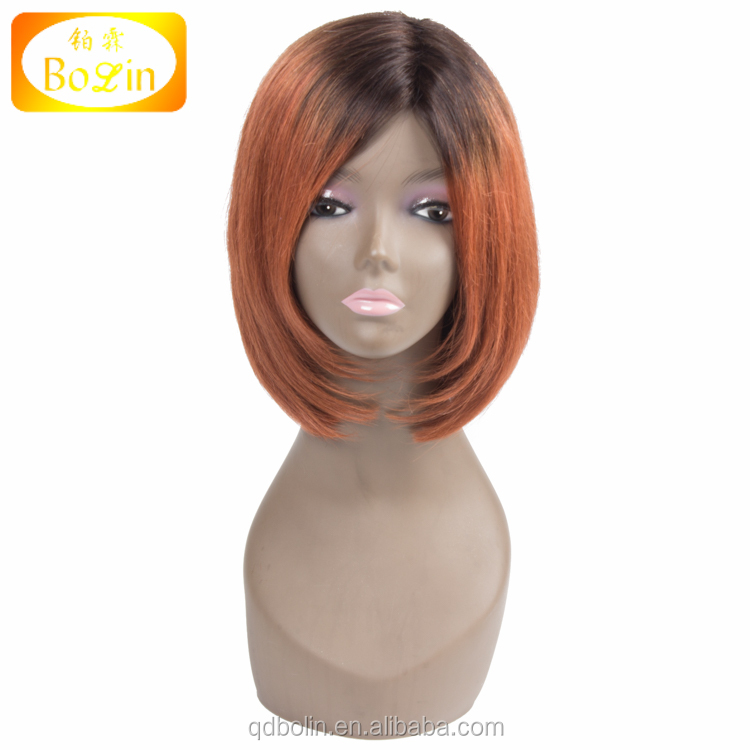 Silky Straight Short Human Hair Bob Wigs Ombre Color Full Lace Human Hair Wigs For Black Women