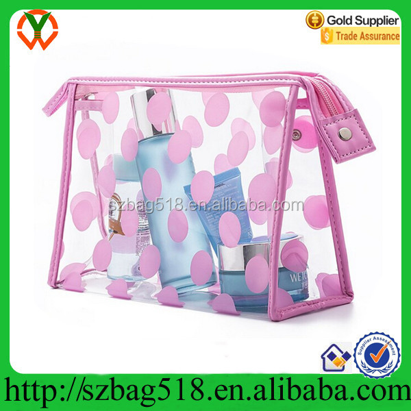 Waterproof PVC Polka Dots Cosmetic Clear Bag for Womens
