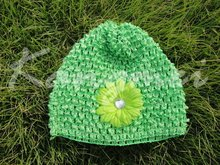 2014 Fashionable hot sale children baby crochet waffle hats with daisy flower