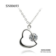 Elegant design silver 925 heart pendant necklace jewelry