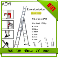 2015 New design and cheap price for 14.5' ft multi purpose telescoping extension ladder 330 lbs ansi en131 new 300lb AY-311