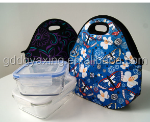 Simple colorful fashion design sublimation insulate neoprene lunch tote bag