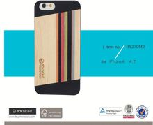 2015 Hot Sale Phone Accessory Natural Wood Mixed Colored Wood Top Black/White PC Hand Carving Wood Case for iPhone 6s 6 6 plus