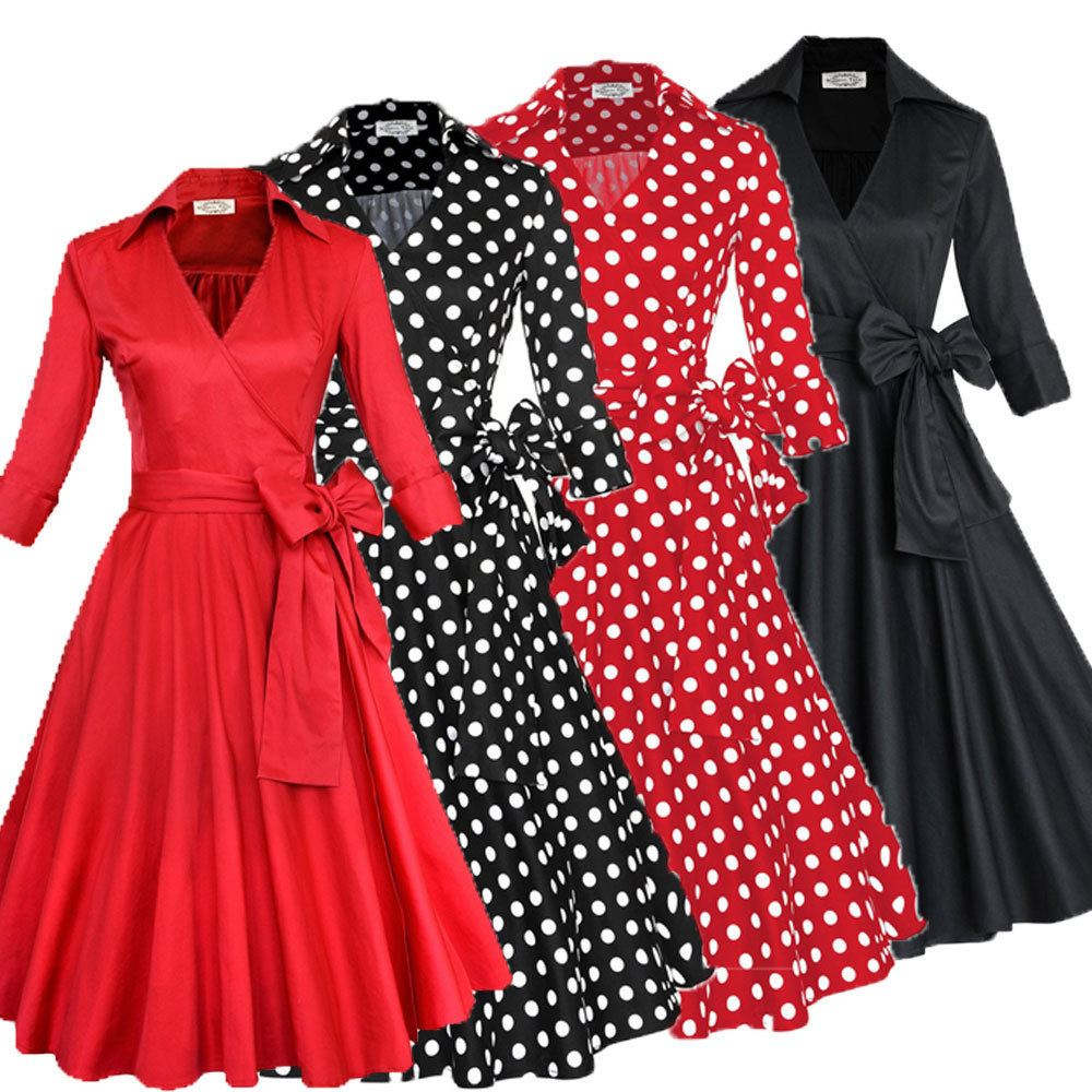 Walson Z&M 2016 Retro 50s prom <strong>dress</strong> cheap Vintage long sleeved Polka dots Swing Jive <strong>Dress</strong> Rockabilly prom <strong>dress</strong> 50s