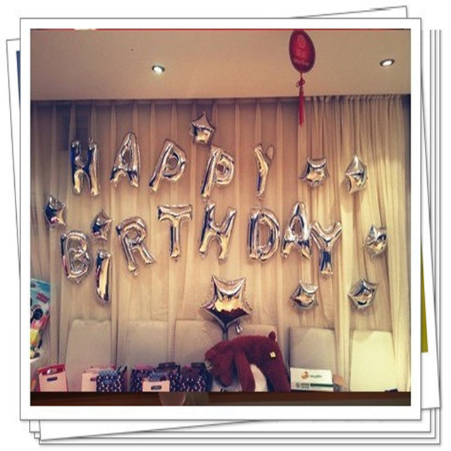 New silver letters suit happy birthday balloons party decoration balloon wholesale children's toys