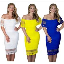 K3074A Europe Latest Night Wear Women Lace Dress Plus Size Sexy Bodycon Off- Shoulder Club Dress For Ladies