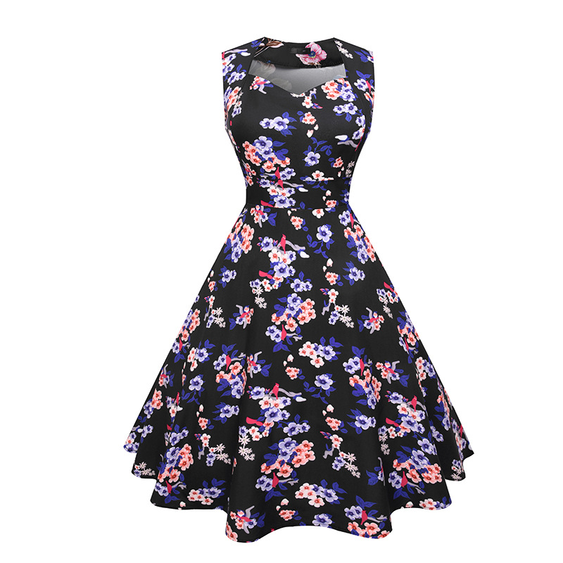 2018 New Modern Women Clothes Custom Floral Print Short Sleeve Lady Slim Casual Floral Dress