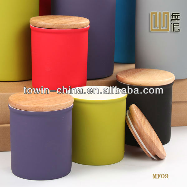 ceramic kitchen canisters with wood lid