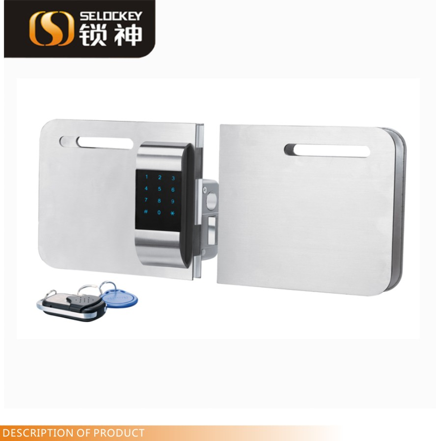 Smart electronic lock. wireless lock for glass door(Double door) Electric aluminum double sliding glass door lock (LY15CR2-11BM)