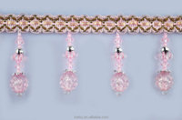 hanging beads curtains pink beaded lace trim,pink beaded lace trim