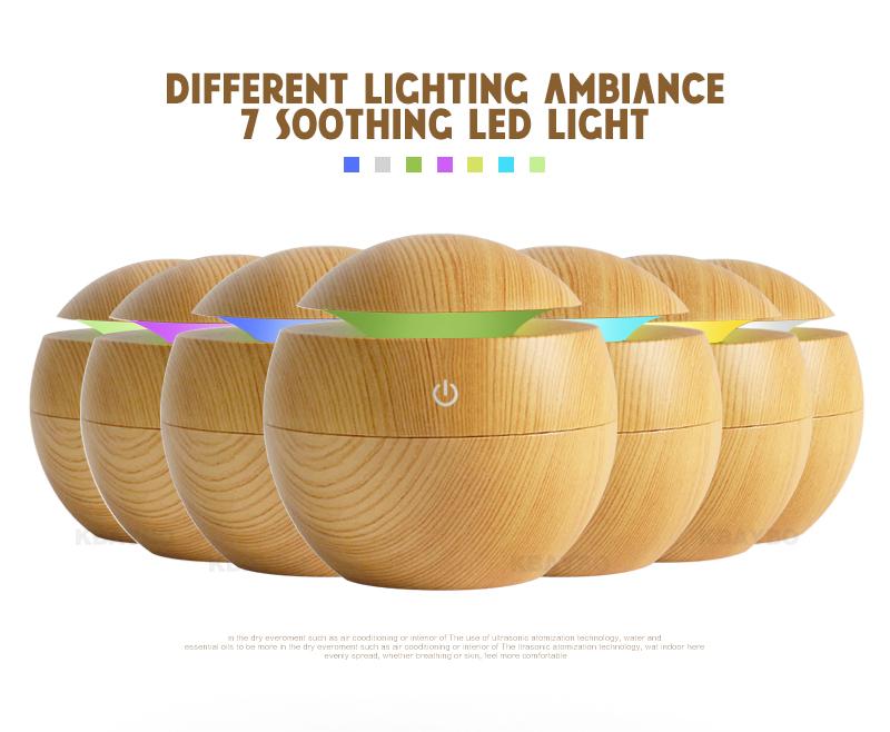 Diffuseur d'huiles essentielles USB KBAYBO bois clair, aromathérapie, lumière LED 7 couleurs