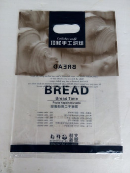Plastic Clear LDPE Die Cut Handle Bread Bag For Retail Shopping With Side Gusset