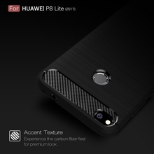 Dropshipping Brushed Carbon Fiber Texture Shockproof TPU Protective Case(Black) FOR Huawei P8 Lite (2017)