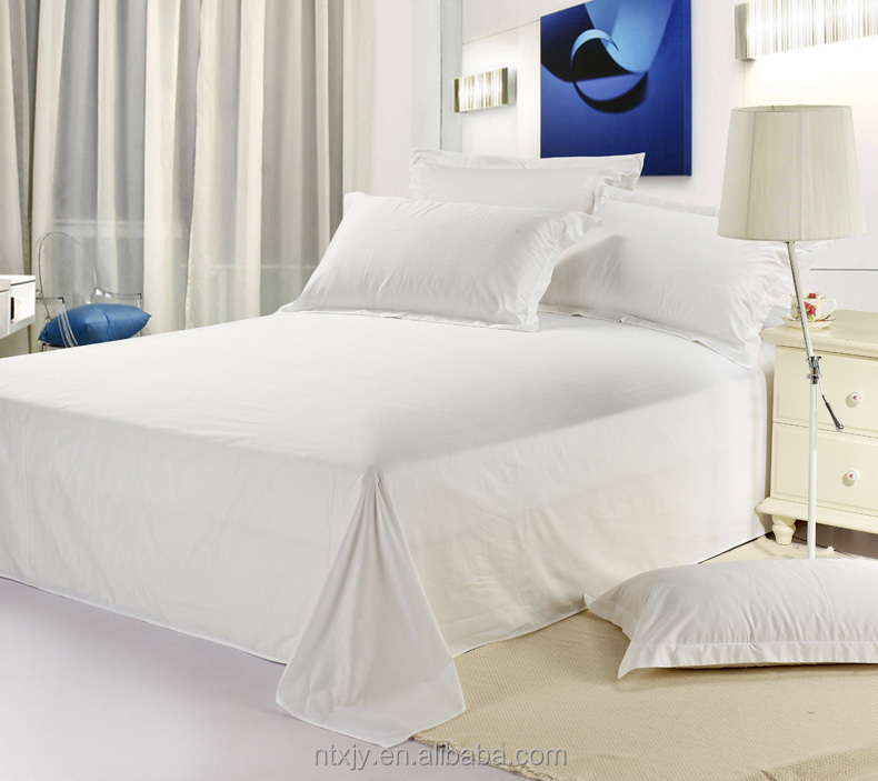 200TC cotton and cotton polyester white plain hotel and hospital bed sheet set