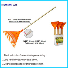 Lawn Rake Head Plastic Victory Rakes Collecting Leaves Grass Cuttings/ True Temper 63-Inch Poly Shrub Rake - 22B