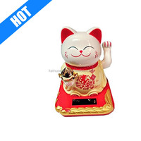 feng shui Solar Powered White and yellow waving lucky cat