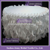TC055C jenny Bridal white decorative ruffles Fancy wedding table cloths