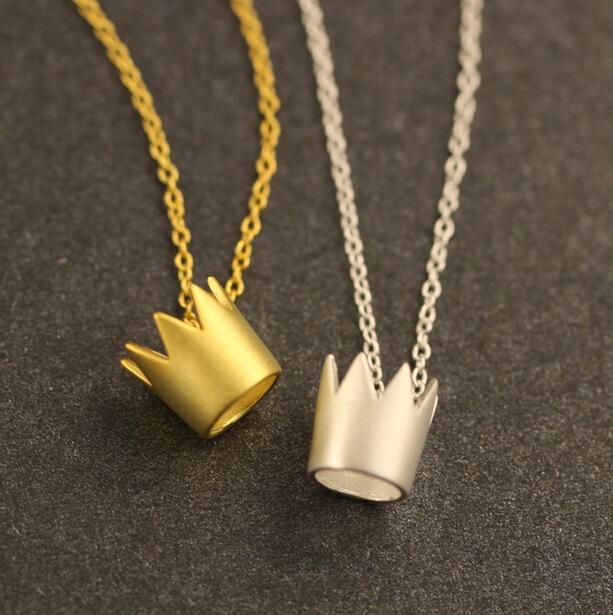 Newest 925 silver gold crown pendant Necklace