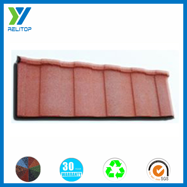Roofing system high quality 1290mm stone chip coated metal roof tile