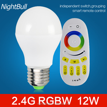 2.4G RF Remote Control RGBW 12W Energy Saving High Lumen Color Changing E27 LED Bulb