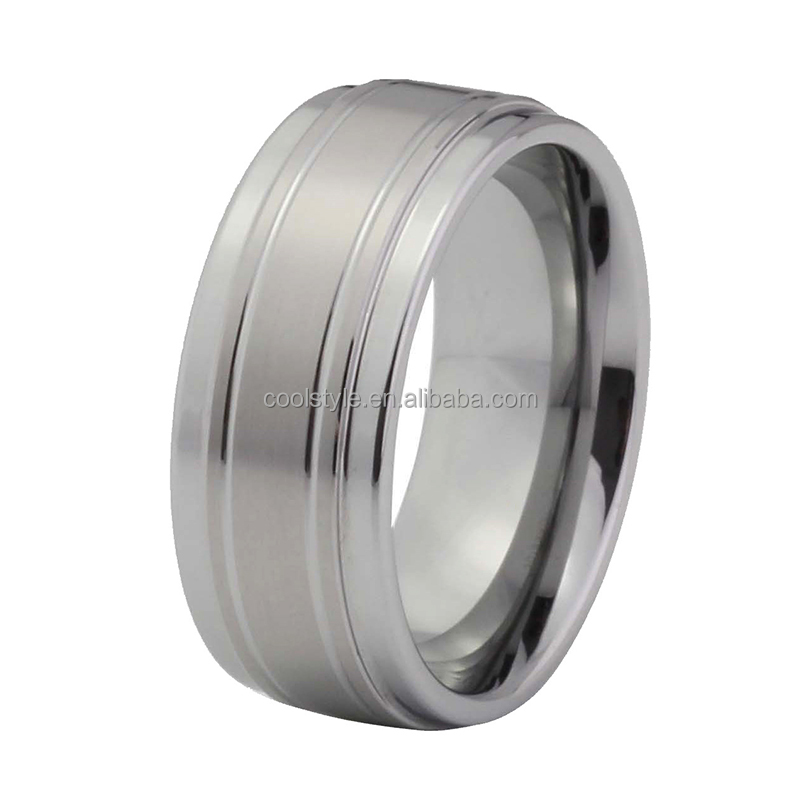 Comfortable edges whosale silver grey color matte surface bridal jewelry tungsten wedding bands