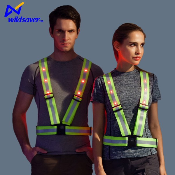 Customized security led safety police traffic vest worker with led light