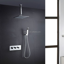 Bathroom use square big rain shower set Chrome Brass shower set