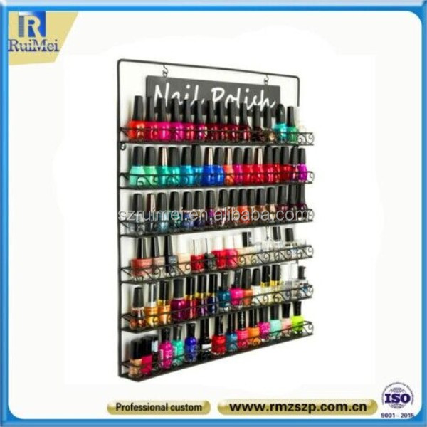 Wall Mounted 5-Tier Customized Nail Polish Display Rack And Stand