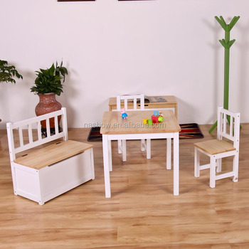 Cubby Plan LMMS-017 Nice Pine Wood Child Furniture Wooden Kid Table and Chair