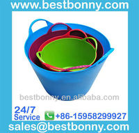 Flexible plastic bucket for dog food storage