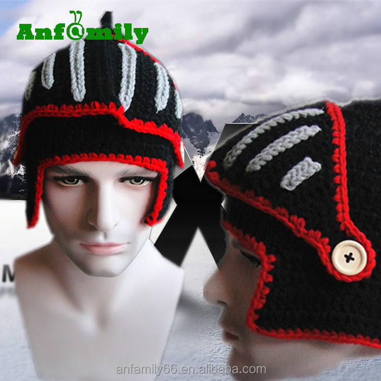 Korean Fashion Beanie Cap Hot Helmets Winter Wool Roman Knight Knit Hat With Mask
