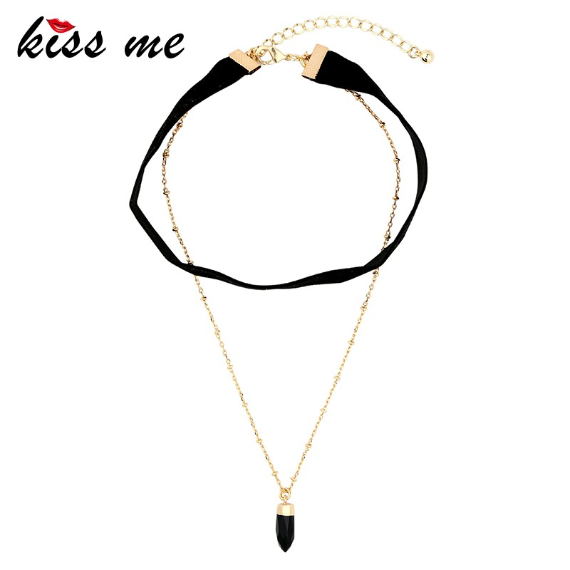 Fashion Blace Women Velvet Choker Necklace Pendant Chain with stone Bar