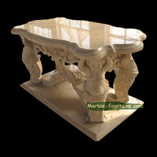 indoor hand carved natural stone polished egypt beige marble table