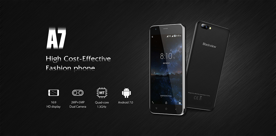 Blackview A7 1GB RAM 8GB ROM Unlocked Android 7.0 MTK6580A Quad Core Mobile Phone