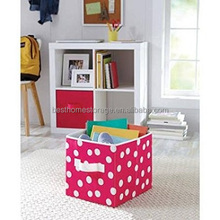 Small Fabric Modular Cube Bin Organizer With White Handle,(Fuchsia Dot)