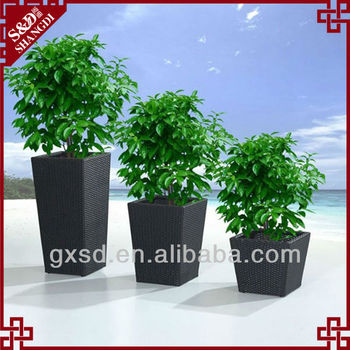self watering tall square rattan planter wholesale outdoor flower pots