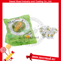 Durian Flavor Soft Chewy Center Filled Fruit Jam Milk Candy for Wholesale
