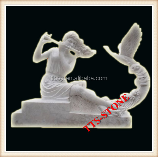 Stone marble statue of girl play the flute
