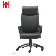 High back black pu leather swivel office chair with fixed pillow
